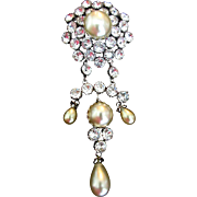 SCHREINER Faux Baroque Pearl and Diamante Pendant Clip/Pin