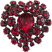 SCHREINER, New York (Unsigned) Ruby Red Crystals Heart Pin/Pendant in Japanned Set
