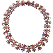 REDUCED SHERMAN Pink & Aurora Borealis Crystal Links Choker Necklace