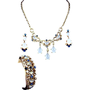 REDUCED TRIFARI 'Alfred Philippe' 'Clair de Lune' Moonstone and Sapphire Pendants Necklace, ..