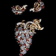 TRIFARI 'Alfred Philippe' Demilune Moonstone Ruby Rhinestones Fruit Pin and Clip Earrings Set