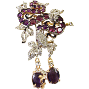 TRIFARI 'Alfred Philippe' 'Princess Eugenie' Amethyst and Pave Huge Serpent w/Pendants Clip/Pi
