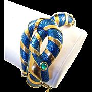 REDUCED TRIFARI 'Alfred Philippe' 'Garden of Eden' Teal Enamel Snake Hinged Bangle Bracelet