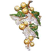 TRIFARI 'Alfred Philippe' Enamel, Pave, Simulated Pearl Grapes Clip/Pin
