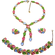 TRIFARI 'Alfred Philippe' Pastel Tri-Color Fruit Salads & Rhinestones Lariat Necklace, Link ..