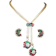 REDUCED TRIFARI Sterling 'Alfred Philippe' Ruby, Emerald, Sapphire, Diamante Floral Pendants .