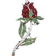 TRIFARI 'Alfred Philippe' Giant Ruby and Emerald Red Rose Pin