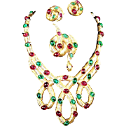 TRIFARI 'Alfred Philippe' Ruby Red and Emerald Green Cabochons Articulated Intertwined Necklac
