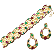 TRIFARI 'Alfred Philippe' Ruby Red and Emerald Green Cabochons Articulated Intertwined Bracele