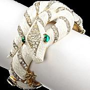 REDUCED TRIFARI 'Alfred Philippe' 'Garden of Eden' White Enamel & Diamante Snake Hinged Bangle