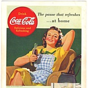 SOLD 1939 Ads - Coca-Cola COKE - 'At Home' / 1940 NASH Car (on reverse)