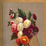 Antique PRINT - 'CHRYSANTHEMUMS' ~ Victorian Chromolithograph c.1880s