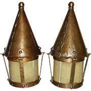 Arts & Crafts Brass Porch Light Fixtures w Amber Seed Glass Shades