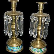 Brass Candlesticks w Longwy Inserts & Crystals