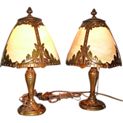 Bent Panel Boudoir Table Lamps - Matched Pair