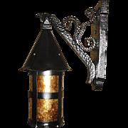 Tudor Iron with Mica Porch Light Fixture