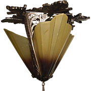 Art Deco Cast Bronze 3 Light Slip Shade Fixture