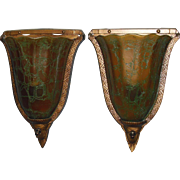 Art Deco Slip Shade Wall Sconces - Crackle Glass Shades