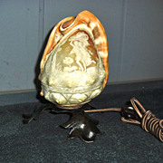 SOLD Carved Conch Shell Cameo Novelty Lamp