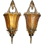 Spectacular Art Deco Slip Shade Wall Sconces - 4 pairs available