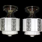 Pair Stylized Art Deco Ceiling Lights in Nickel Fixtures