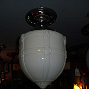 Embossed Milk Glass Ceiling Light in Nickel Fixture