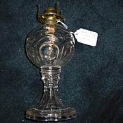 Early Central Bullseye w Scalloped Base Kerosene Oil Lamp