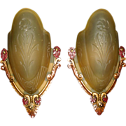 Art Deco Slip Shade Wall Sconces - Markel - 2 pair available