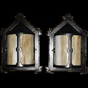Arts & Crafts Bent Panel Slag Glass Porch Lights