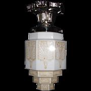 Art Deco Flush Mount Ceiling Light Fixture w Wedding Cake Shade