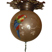 Ceiling Light Fixture with Gill Glass Co. Decorated Parrot Ball Shade
