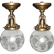 Pair Ceiling Lights: Cast Brass with Cut and Etched Ball Shades