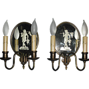 Antique Neoclassical Brass / Copper Wheel Cut Mirror Wall Sconces