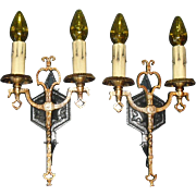Tudor Iron and Brass Double Candle Wall Sconces - 4 pair available