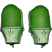 Art Deco Slip Shade Green Porcelain Wall Sconces