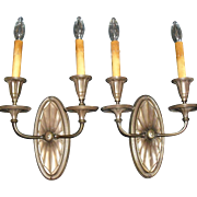 Impressive Sheffield Brass Double-Candle Wall Sconces - 2 pair available