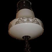Kayline Radiant Ceiling Light -Decorated Milk Glass Shade in Original Bronze Fixture