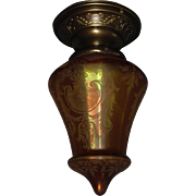 Dark Amber Iridescent Acid Etched Glass Shade on Decorated Brass Fixture