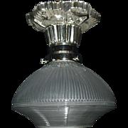 Art Deco Flush Mount Ceiling Light with Holophane Glass Shade