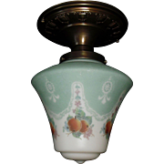 Bellova 5 Color Acid Etched Glass Shade in Decorated Brass Ceiling Fixture