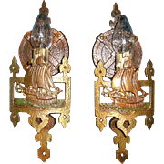 Lincoln Cast Bronze Single Candle Ship Sconces - Original Finish