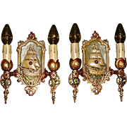 Lincoln Cast Iron Spanish Galleon Double Candle Ship Sconces