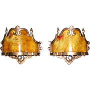 Art Deco Cast Bronze Wall Sconces with Catalin Slip Shades