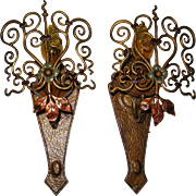 Elaborate Spanish Revival Wall Sconces with Polychrome Finish