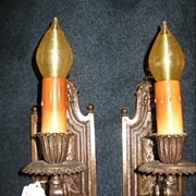 Neoclassical Bronze Sconces - Traditional Motif with Single Candle-up