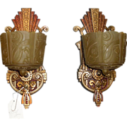 Art Deco Slip Shade Wall Sconces - Markel - 3 pair available