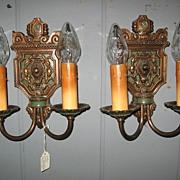 Cast  Bronze Gothic Wall Sconces with Original Polychrome Finish