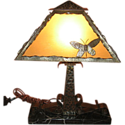 Arts & Crafts Iron Desk Lamp with Marble Base