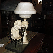 Exceptional Figural Alabaster & Marble Table Lamp