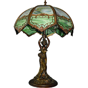 Art Nouveau Figural Lady Table Lamp w Bent Panel Slag Glass Shade